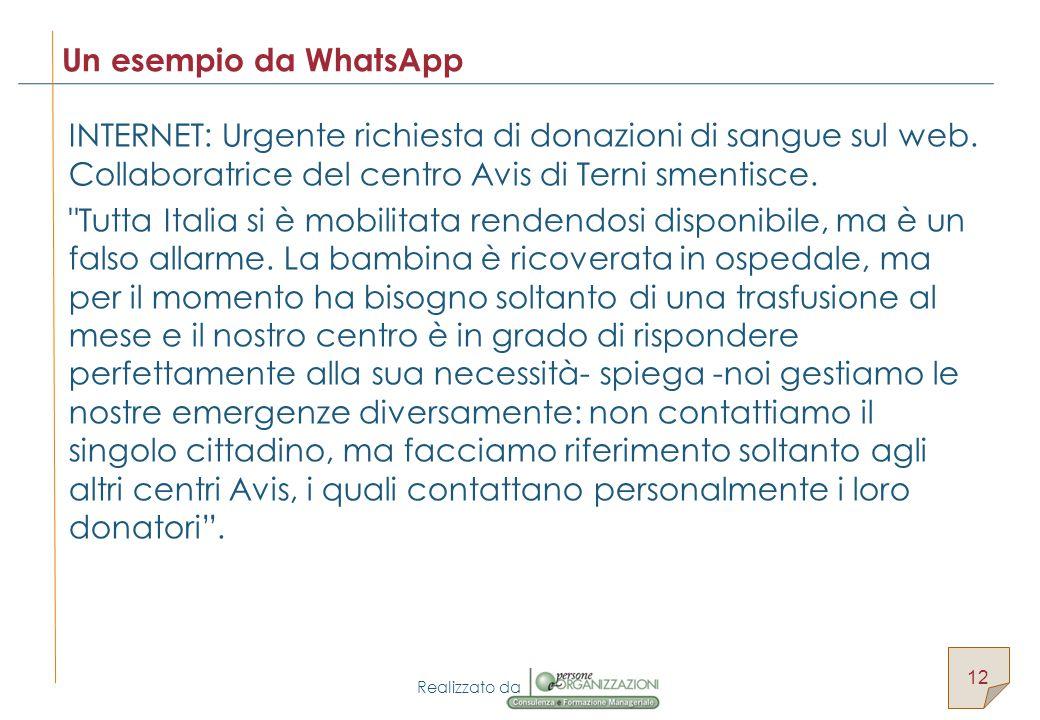 Realizzato da INTERNET: Urgente richiesta di donazioni di sangue sul web.