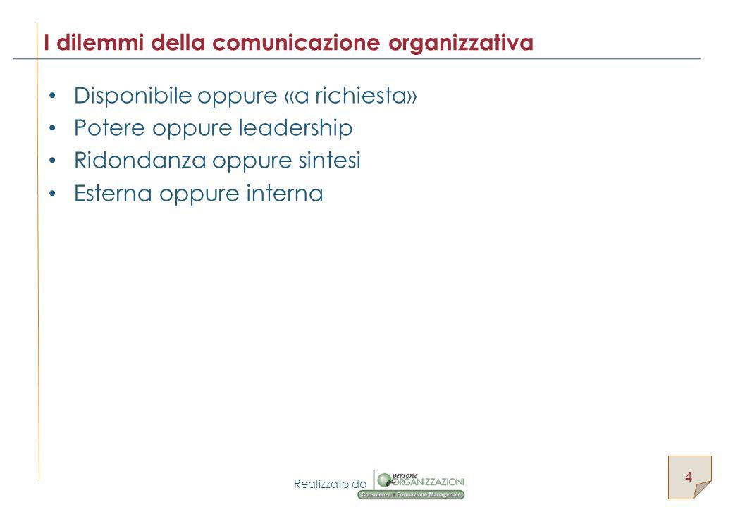 Realizzato da Disponibile oppure «a richiesta» Potere oppure leadership Ridondanza oppure sintesi Esterna oppure interna I dilemmi della comunicazione