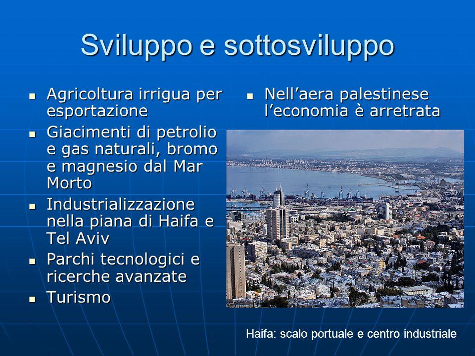 Sviluppo e sottosviluppo Agricoltura irrigua per esportazione Agricoltura irrigua per esportazione Giacimenti di petrolio e gas naturali, bromo e magnesio dal Mar Morto Giacimenti di petrolio e gas naturali, bromo e magnesio dal Mar Morto Industrializzazione nella piana di Haifa e Tel Aviv Industrializzazione nella piana di Haifa e Tel Aviv Parchi tecnologici e ricerche avanzate Parchi tecnologici e ricerche avanzate Turismo Turismo Nell'aera palestinese l'economia è arretrata Nell'aera palestinese l'economia è arretrata Haifa: scalo portuale e centro industriale