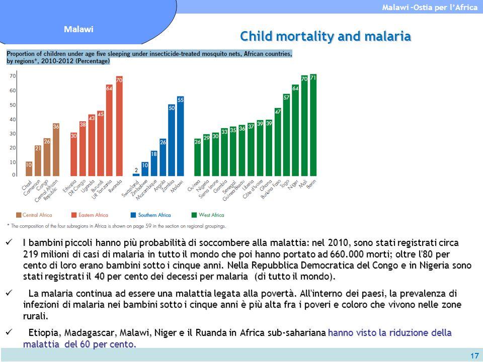 17 Malawi -Ostia per l'Africa Malawi Child mortality and malaria I bambini piccoli hanno più probabilità di soccombere alla malattia: nel 2010, sono s