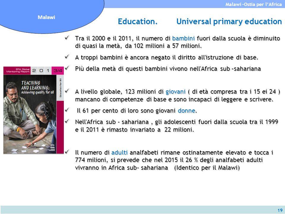 19 Malawi -Ostia per l'Africa Malawi Tra il 2000 e il 2011, il numero di bambini fuori dalla scuola è diminuito di quasi la metà, da 102 milioni a 57