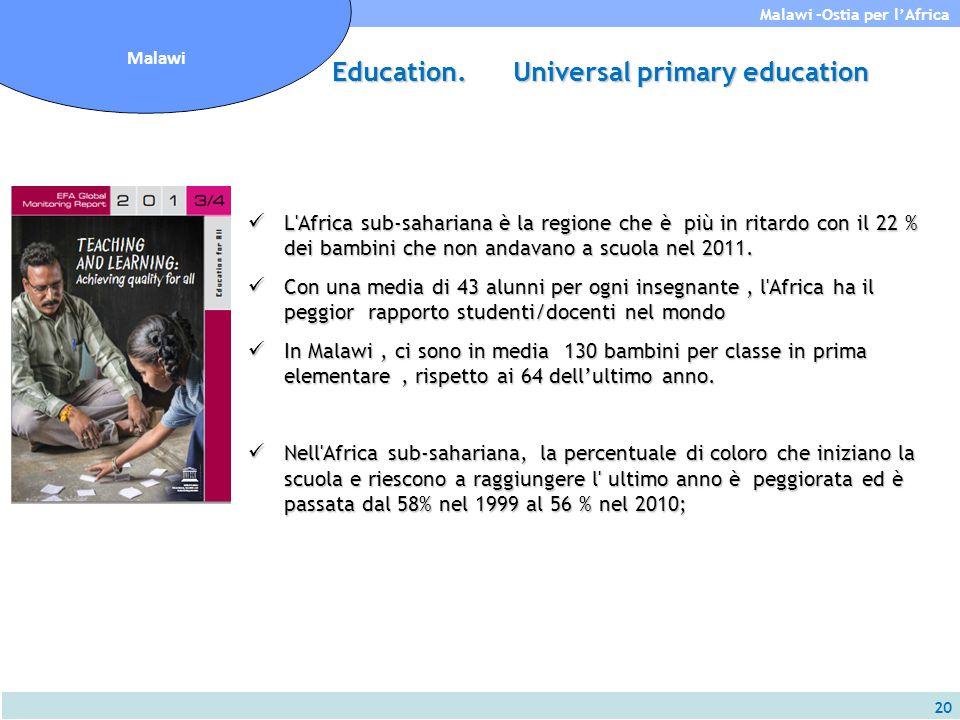20 Malawi -Ostia per l'Africa Malawi L'Africa sub-sahariana è la regione che è più in ritardo con il 22 % dei bambini che non andavano a scuola nel 20