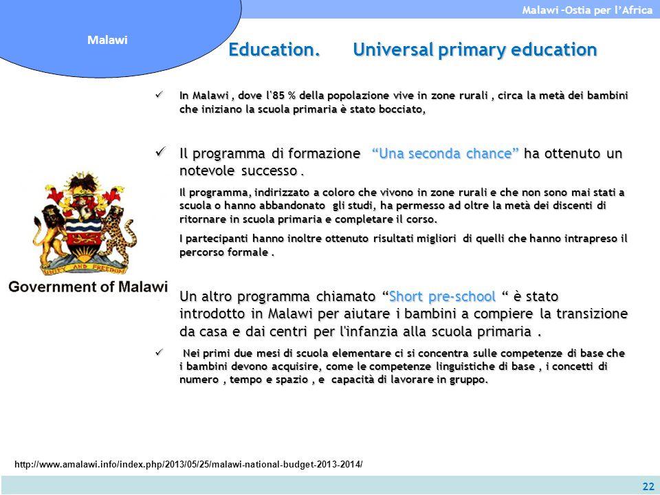 22 Malawi -Ostia per l'Africa Malawi Education. Universal primary education In Malawi, dove l'85 % della popolazione vive in zone rurali, circa la met