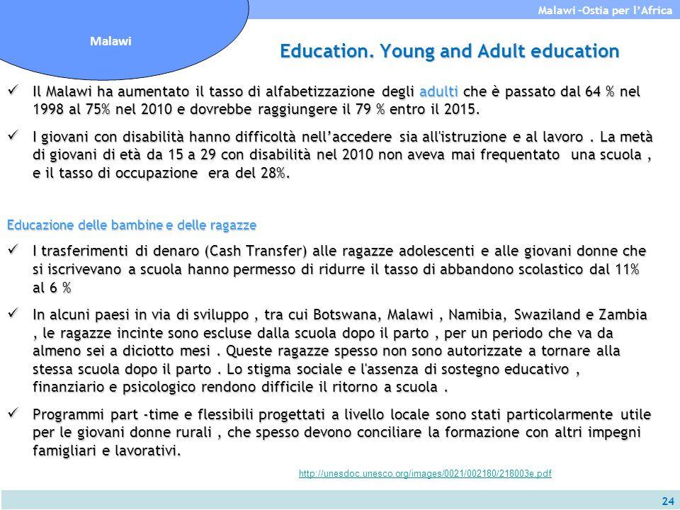24 Malawi -Ostia per l'Africa Malawi Education. Young and Adult education Il Malawi ha aumentato il tasso di alfabetizzazione degli adulti che è passa