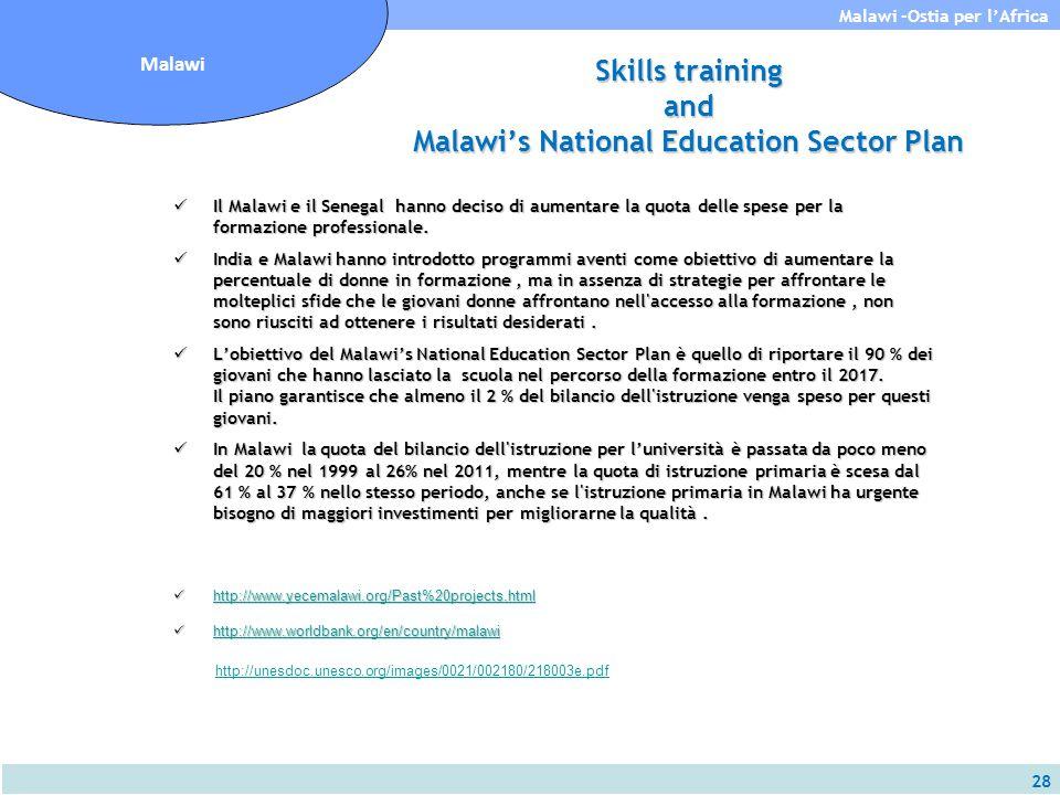 28 Malawi -Ostia per l'Africa Malawi Skills training and Malawi's National Education Sector Plan Il Malawi e il Senegal hanno deciso di aumentare la q