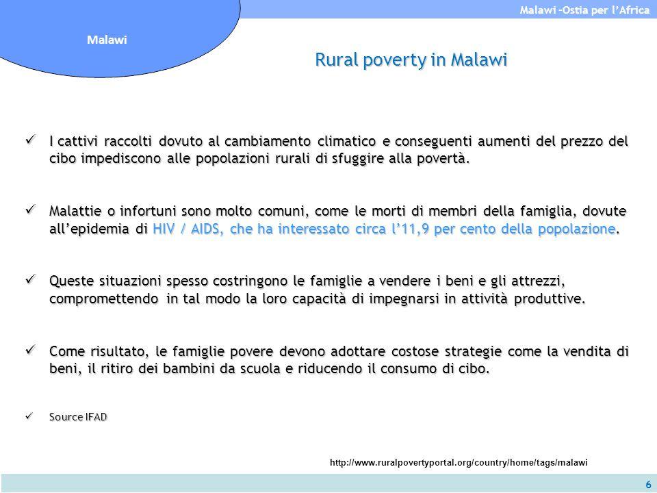 6 Malawi -Ostia per l'Africa Malawi Rural poverty in Malawi I cattivi raccolti dovuto al cambiamento climatico e conseguenti aumenti del prezzo del ci