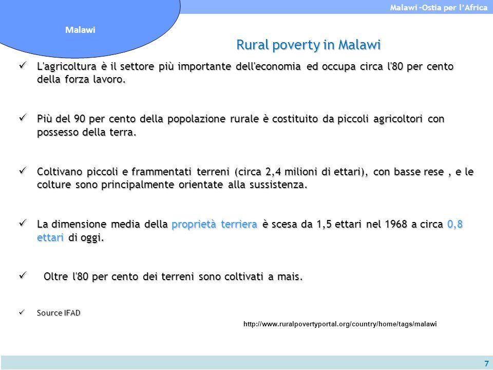 8 Malawi -Ostia per l'Africa Malawi Rural poverty in Malawi I terreni sono principalmente in locazione e le colture principali sono mais, tabacco, tè, zucchero e caffè.