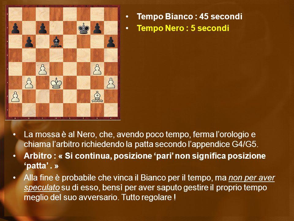 La mossa è al Nero, che, avendo poco tempo, ferma l'orologio e chiama l'arbitro richiedendo la patta secondo l'appendice G4/G5. Arbitro : « Si continu