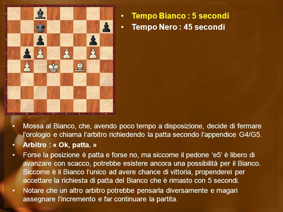 Mossa al Bianco, che, avendo poco tempo a disposizione, decide di fermare l'orologio e chiama l'arbitro richiedendo la patta secondo l'appendice G4/G5