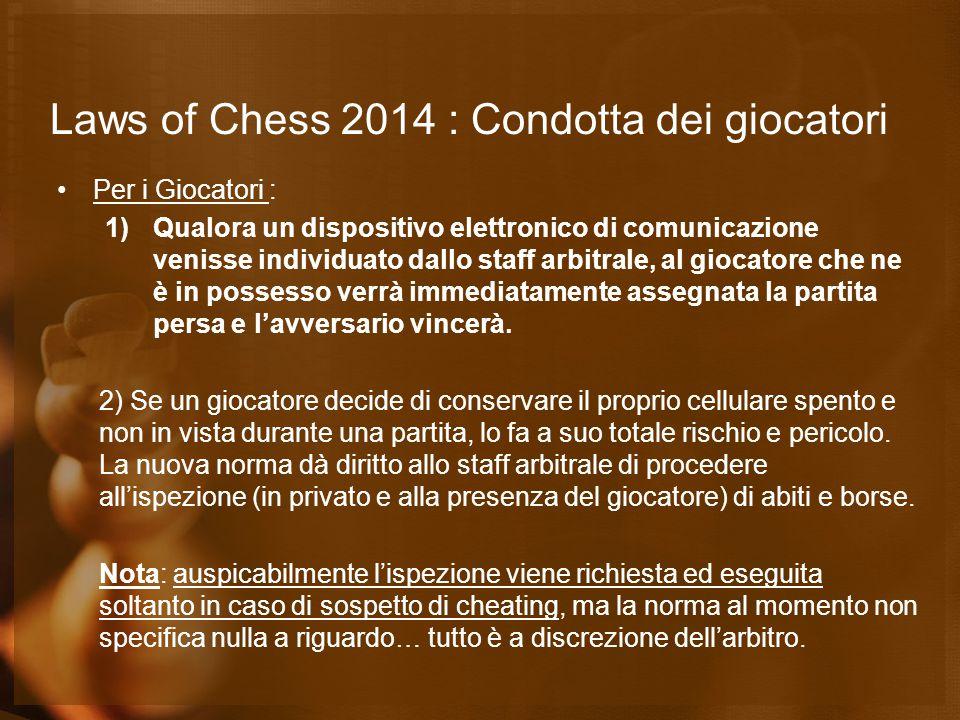 Laws of Chess 2014 : Gioco Rapido/Lampo Articolo A.1 «Una 'partita di gioco rapido' è una partita nella quale tutte le mosse devono essere completate in un tempo prefissato maggiore di 10 minuti ma minore di 60 minuti per ciascun giocatore; ovvero nella quale il tempo assegnato più 60 volte l'eventuale incremento è maggiore di 10 minuti ma minore di 60 minuti per ciascun giocatore.» Articolo B.1 «Una 'partita lampo' è una partita nella quale tutte le mosse devono essere completate in un tempo prefissato minore o uguale a 10 minuti per ciascun giocatore; ovvero nella quale il tempo assegnato più 60 volte l'eventuale incremento è minore o uguale a 10 minuti.»