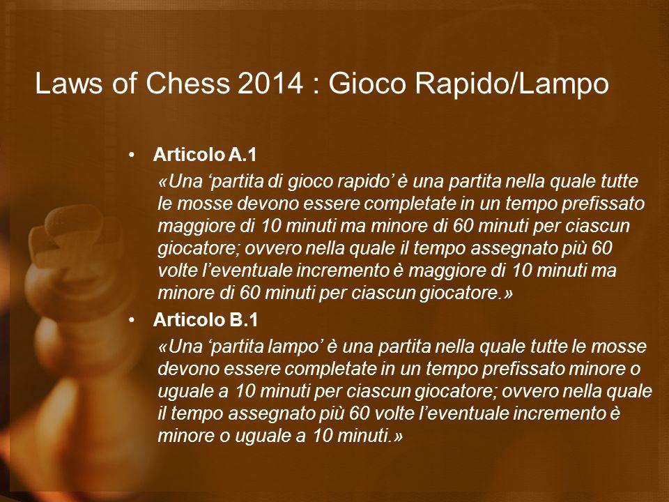 Laws of Chess 2014 : Gioco Rapido/Lampo Articolo A.1 «Una 'partita di gioco rapido' è una partita nella quale tutte le mosse devono essere completate