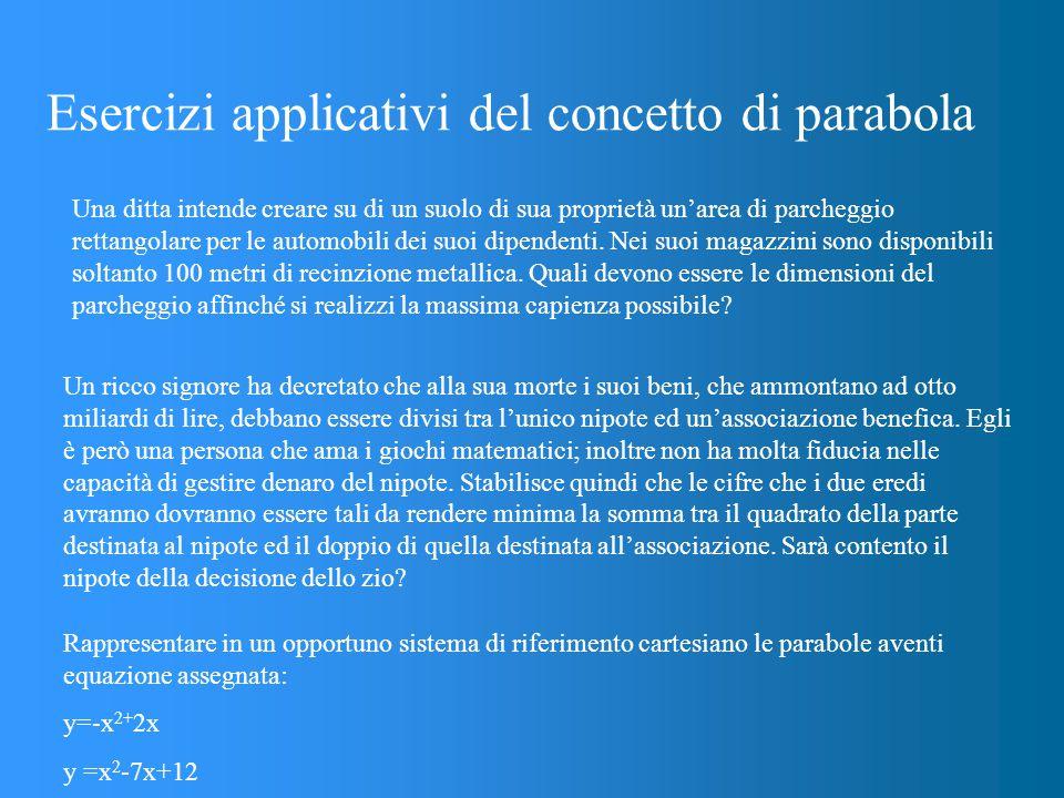 Esercizi applicativi del concetto di parabola Una ditta intende creare su di un suolo di sua proprietà un'area di parcheggio rettangolare per le automobili dei suoi dipendenti.