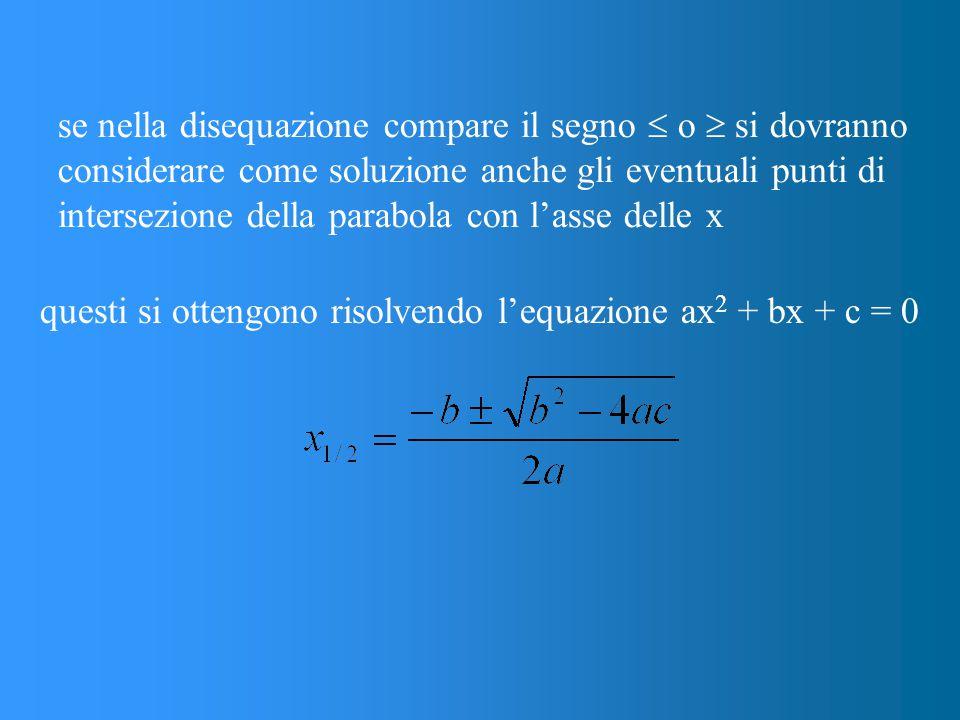 se nella disequazione compare il segno  o  si dovranno considerare come soluzione anche gli eventuali punti di intersezione della parabola con l'asse delle x questi si ottengono risolvendo l'equazione ax 2 + bx + c = 0