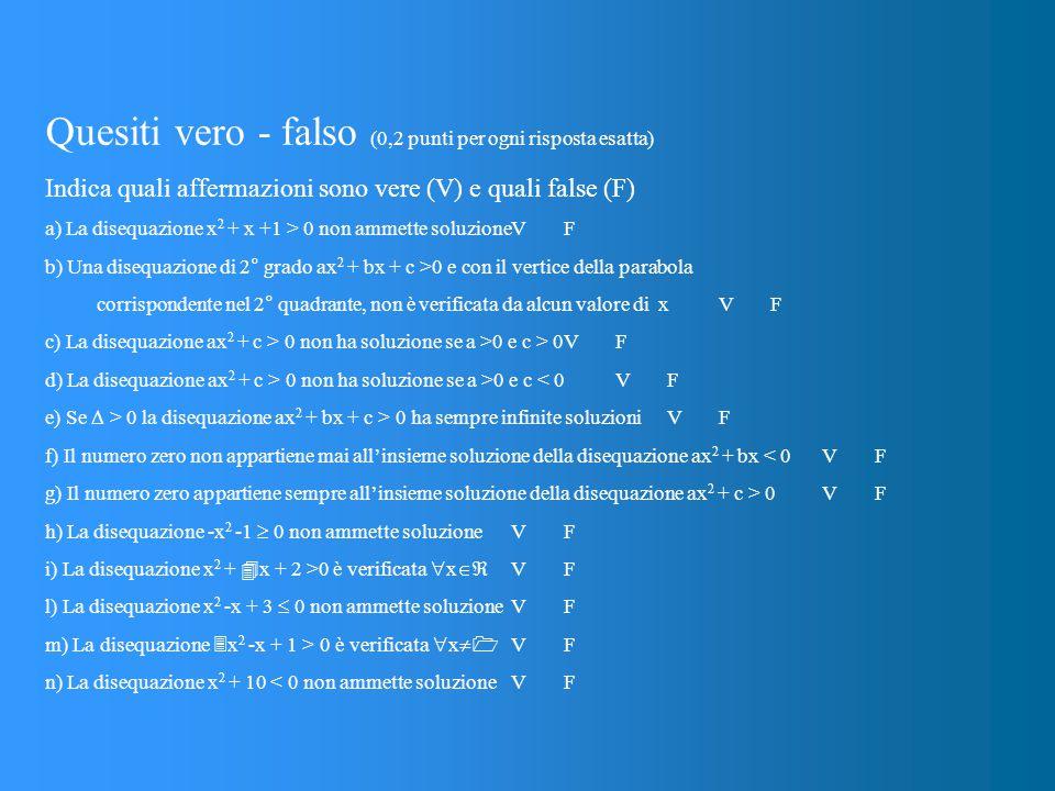 Quesiti vero - falso (0,2 punti per ogni risposta esatta) Indica quali affermazioni sono vere (V) e quali false (F) a) La disequazione x 2 + x +1 > 0 non ammette soluzioneVF b) Una disequazione di 2° grado ax 2 + bx + c >0 e con il vertice della parabola corrispondente nel 2° quadrante, non è verificata da alcun valore di xVF c) La disequazione ax 2 + c > 0 non ha soluzione se a >0 e c > 0VF d) La disequazione ax 2 + c > 0 non ha soluzione se a >0 e c < 0VF e) Se  > 0 la disequazione ax 2 + bx + c > 0 ha sempre infinite soluzioniVF f) Il numero zero non appartiene mai all'insieme soluzione della disequazione ax 2 + bx < 0VF g) Il numero zero appartiene sempre all'insieme soluzione della disequazione ax 2 + c > 0VF h) La disequazione -x 2 -1  0 non ammette soluzioneVF i) La disequazione x 2 +  x + 2 >0 è verificata  x  VF l) La disequazione x 2 -x + 3  0 non ammette soluzione VF m) La disequazione  x 2 -x + 1 > 0 è verificata  x   VF n) La disequazione x 2 + 10 < 0 non ammette soluzione VF