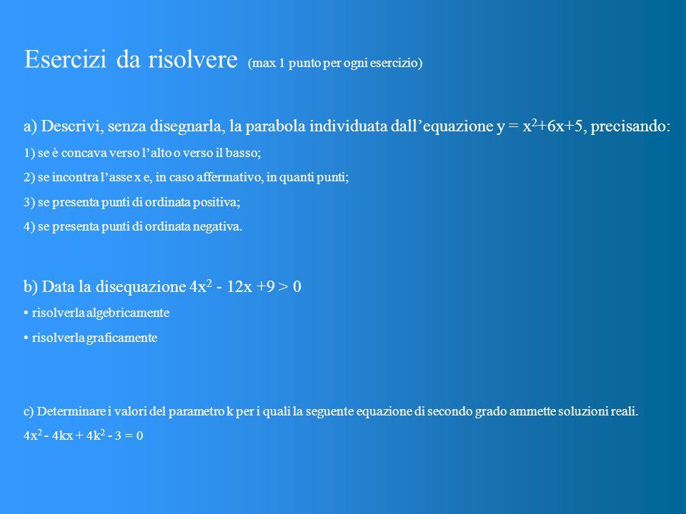 Esercizi da risolvere (max 1 punto per ogni esercizio) a) Descrivi, senza disegnarla, la parabola individuata dall'equazione y = x 2 +6x+5, precisando: 1) se è concava verso l'alto o verso il basso; 2) se incontra l'asse x e, in caso affermativo, in quanti punti; 3) se presenta punti di ordinata positiva; 4) se presenta punti di ordinata negativa.