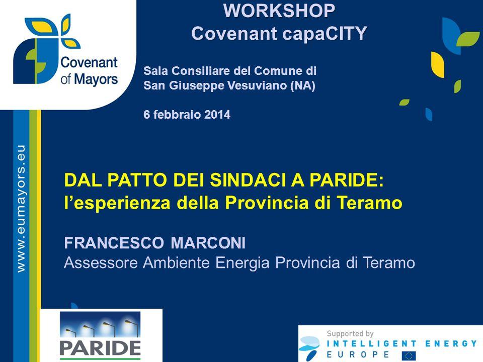 DAL PATTO DEI SINDACI A PARIDE: l'esperienza della Provincia di Teramo FRANCESCO MARCONI Assessore Ambiente Energia Provincia di Teramo WORKSHOP Coven