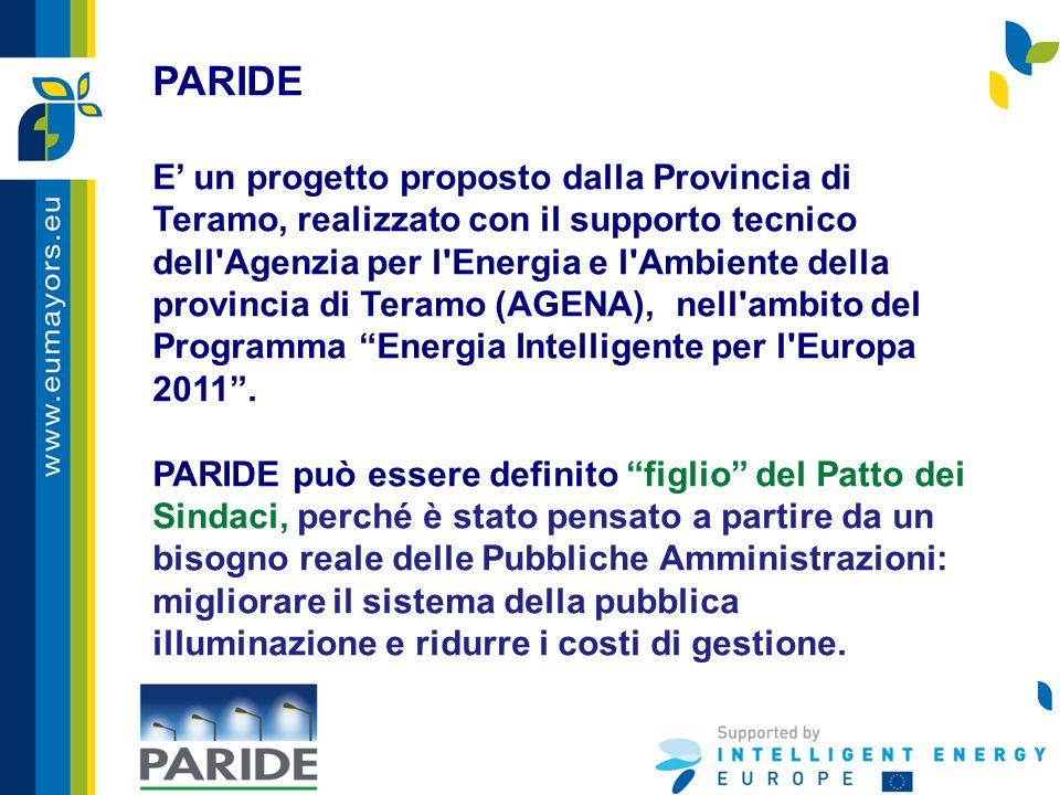 PARIDE E' un progetto proposto dalla Provincia di Teramo, realizzato con il supporto tecnico dell Agenzia per l Energia e l Ambiente della provincia di Teramo (AGENA), nell ambito del Programma Energia Intelligente per l Europa 2011 .