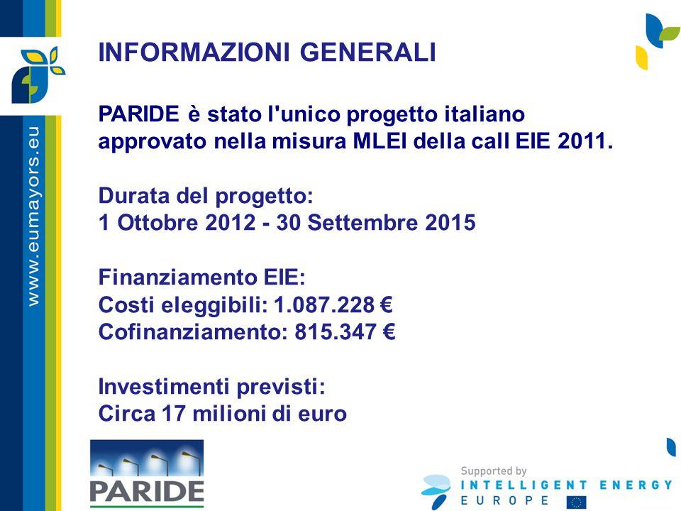 INFORMAZIONI GENERALI PARIDE è stato l'unico progetto italiano approvato nella misura MLEI della call EIE 2011. Durata del progetto: 1 Ottobre 2012 -