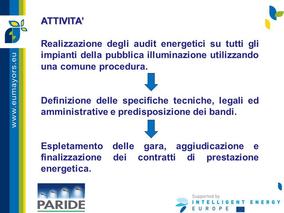 ATTIVITA' Realizzazione degli audit energetici su tutti gli impianti della pubblica illuminazione utilizzando una comune procedura. Definizione delle