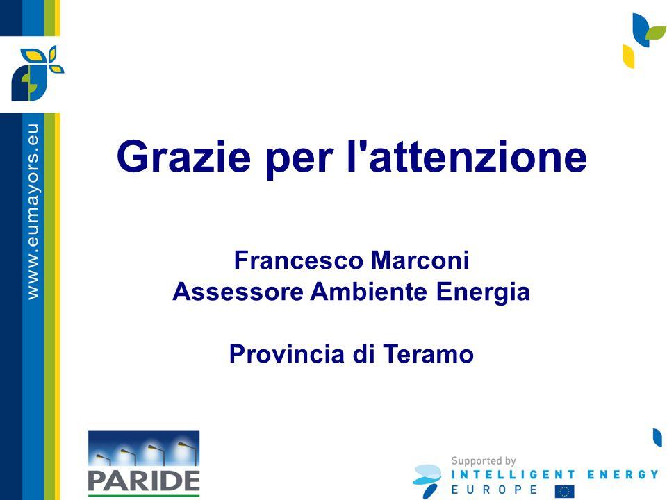 Grazie per l'attenzione Francesco Marconi Assessore Ambiente Energia Provincia di Teramo
