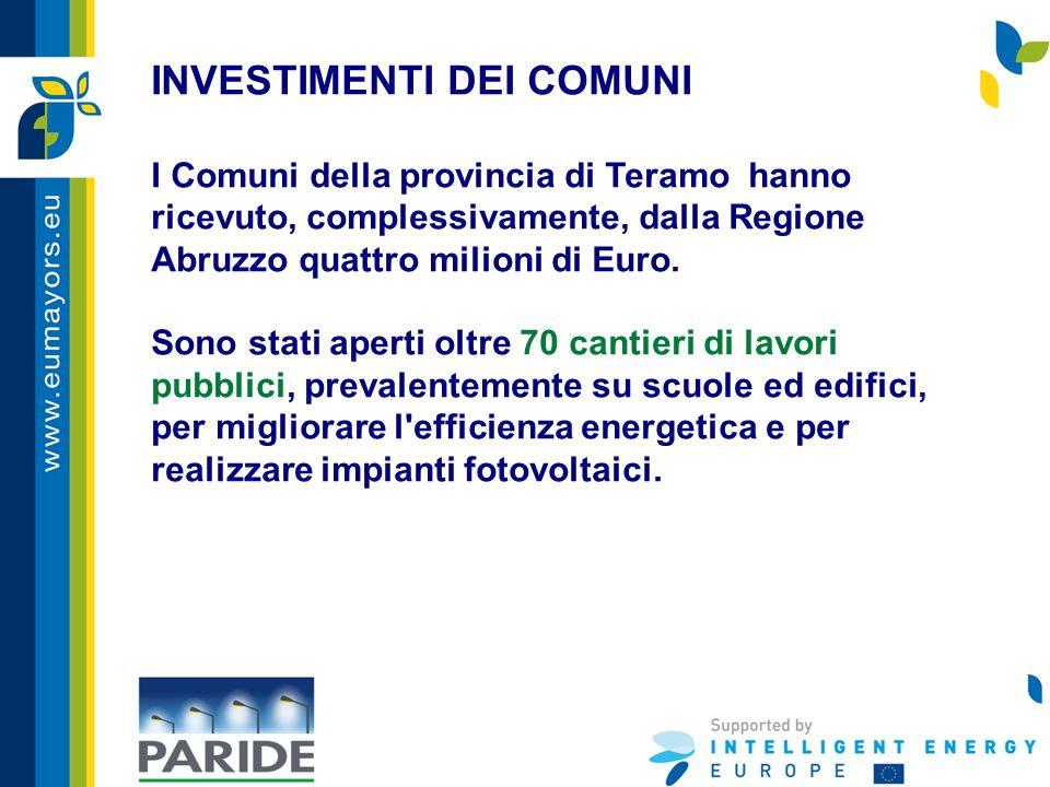 INVESTIMENTI DEI COMUNI I Comuni della provincia di Teramo hanno ricevuto, complessivamente, dalla Regione Abruzzo quattro milioni di Euro. Sono stati