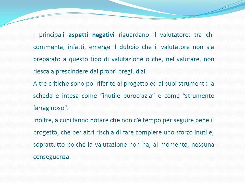 I principali aspetti negativi riguardano il valutatore: tra chi commenta, infatti, emerge il dubbio che il valutatore non sia preparato a questo tipo di valutazione o che, nel valutare, non riesca a prescindere dai propri pregiudizi.