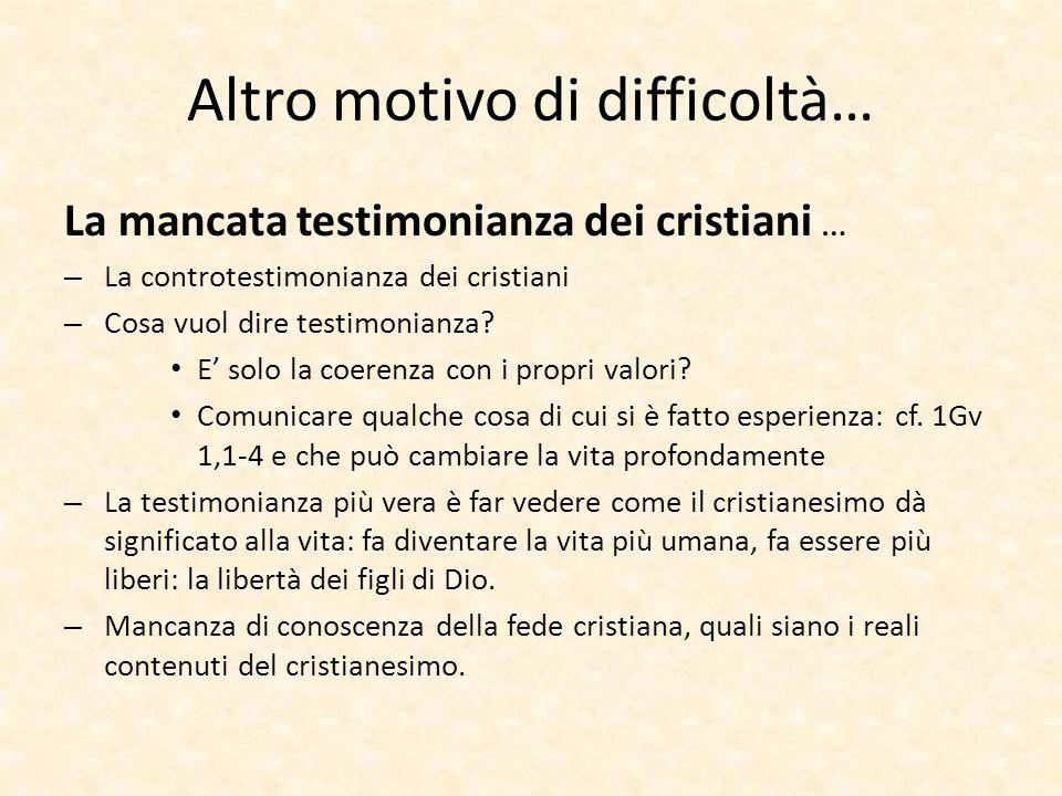 Altro motivo di difficoltà… La mancata testimonianza dei cristiani … – La controtestimonianza dei cristiani – Cosa vuol dire testimonianza? E' solo la