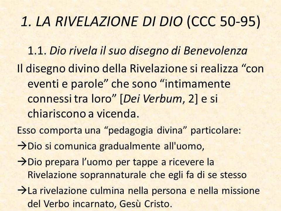 """1. LA RIVELAZIONE DI DIO (CCC 50-95) 1.1. Dio rivela il suo disegno di Benevolenza Il disegno divino della Rivelazione si realizza """"con eventi e parol"""