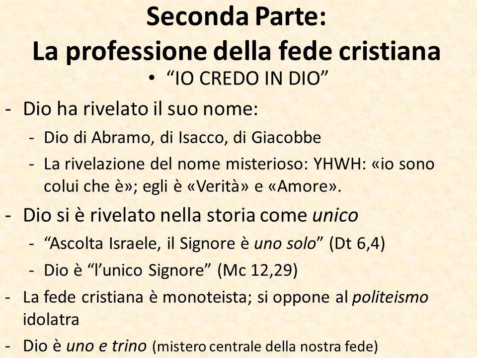 """Seconda Parte: La professione della fede cristiana """"IO CREDO IN DIO"""" -Dio ha rivelato il suo nome: -Dio di Abramo, di Isacco, di Giacobbe -La rivelazi"""