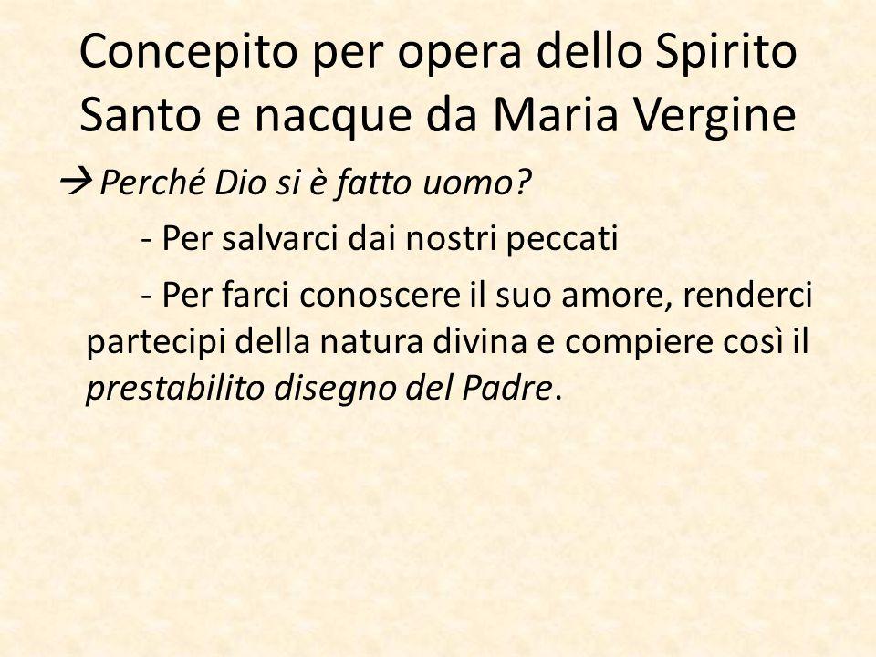 Concepito per opera dello Spirito Santo e nacque da Maria Vergine  Perché Dio si è fatto uomo? - Per salvarci dai nostri peccati - Per farci conoscer