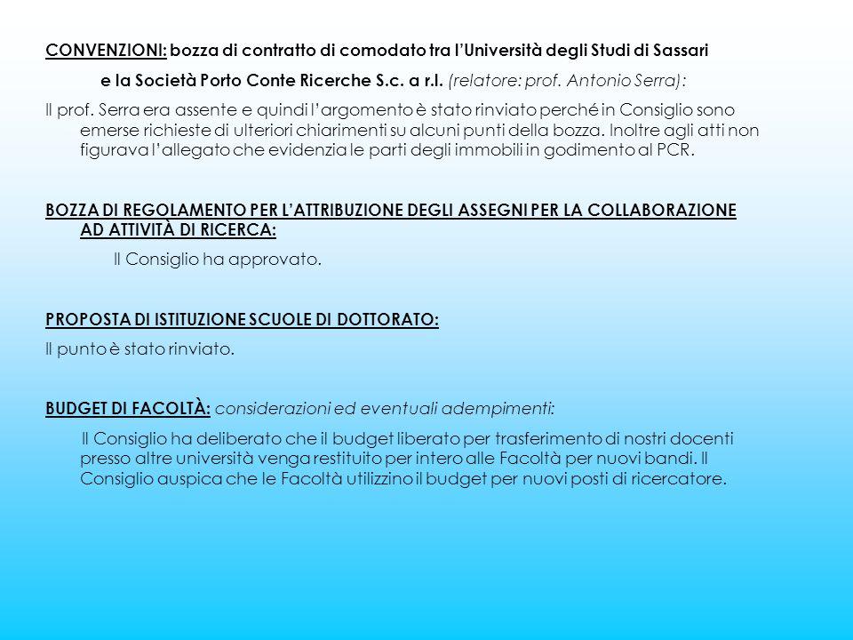 CONVENZIONI: bozza di contratto di comodato tra l'Università degli Studi di Sassari e la Società Porto Conte Ricerche S.c.