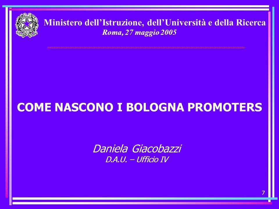 7 Ministero dell'Istruzione, dell'Università e della Ricerca Roma, 27 maggio 2005 COME NASCONO I BOLOGNA PROMOTERS Daniela Giacobazzi D.A.U.
