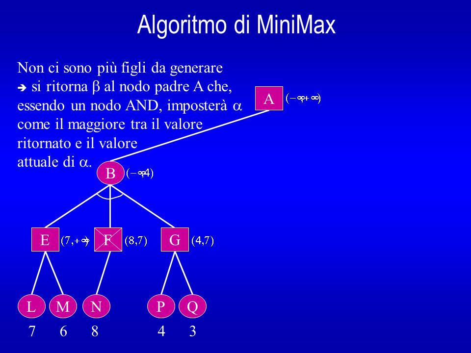 Algoritmo di MiniMax B A  E L 7 6 8 4 3  Non ci sono più figli da generare  si ritorna  al nodo padre A che, essendo un nodo AND, imposterà  come il maggiore tra il valore ritornato e il valore attuale di .