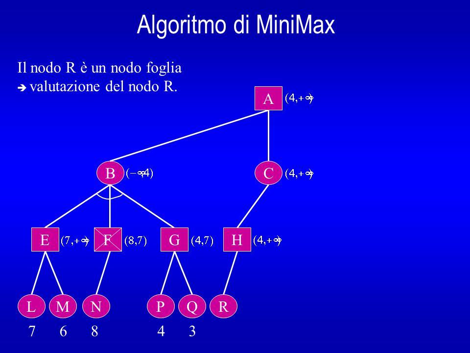 Algoritmo di MiniMax B A E L 7 6 8 4 3  Il nodo R è un nodo foglia  valutazione del nodo R.