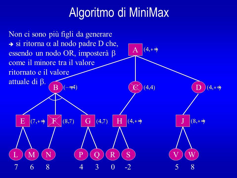 Algoritmo di MiniMax B A E L 7 6 8 4 3 0 -2 5 8  Non ci sono più figli da generare  si ritorna  al nodo padre D che, essendo un nodo OR, imposterà  come il minore tra il valore ritornato e il valore attuale di .
