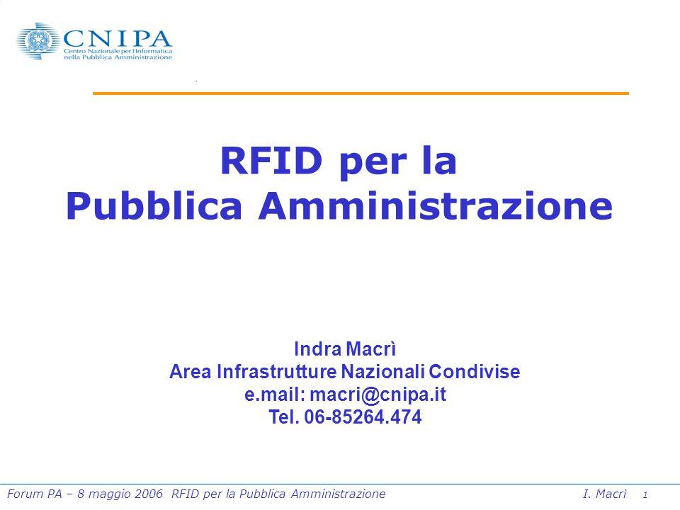 1 Forum PA – 8 maggio 2006 RFID per la Pubblica Amministrazione I.