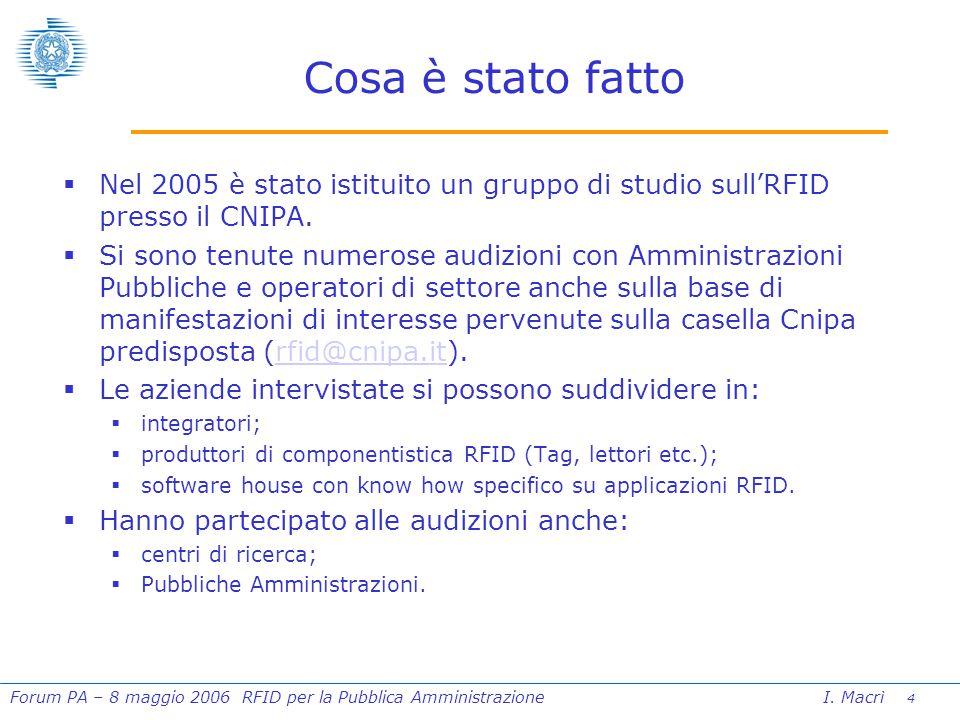 4 Forum PA – 8 maggio 2006 RFID per la Pubblica Amministrazione I.