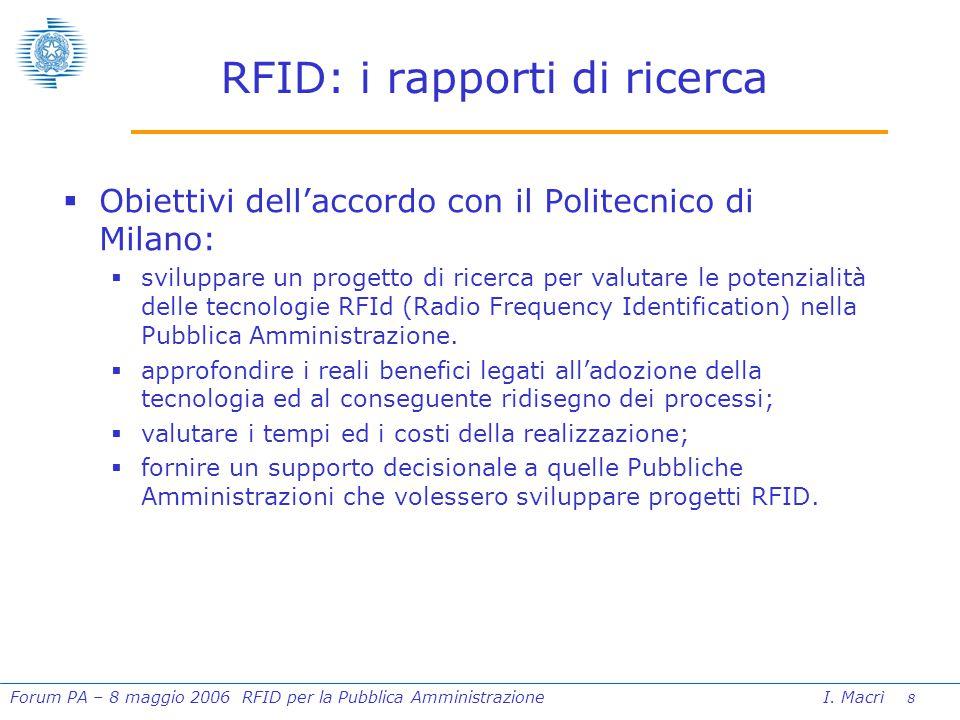 9 Forum PA – 8 maggio 2006 RFID per la Pubblica Amministrazione I.