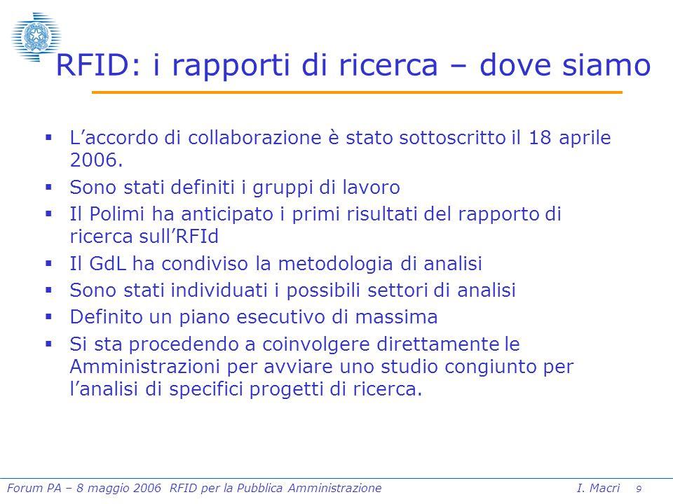 10 Forum PA – 8 maggio 2006 RFID per la Pubblica Amministrazione I.