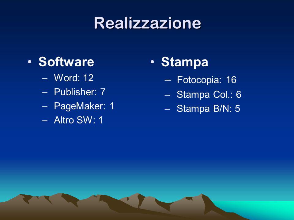 Realizzazione Software – Word: 12 – Publisher: 7 – PageMaker: 1 – Altro SW: 1 Stampa – Fotocopia: 16 – Stampa Col.: 6 – Stampa B/N: 5