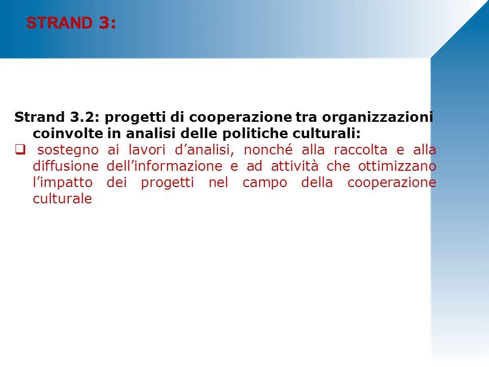 STRAND 3: Strand 3.2: progetti di cooperazione tra organizzazioni coinvolte in analisi delle politiche culturali:  sostegno ai lavori d'analisi, nonché alla raccolta e alla diffusione dell'informazione e ad attività che ottimizzano l'impatto dei progetti nel campo della cooperazione culturale