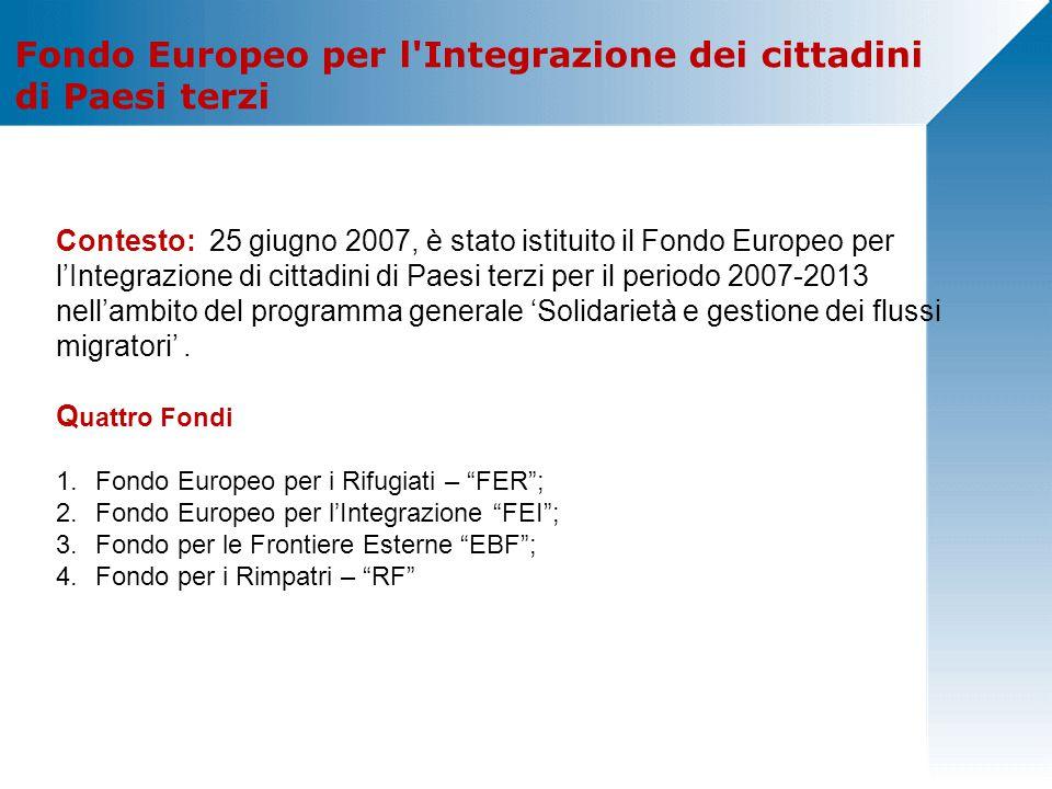 Fondo Europeo per l Integrazione dei cittadini di Paesi terzi Contesto: 25 giugno 2007, è stato istituito il Fondo Europeo per l'Integrazione di cittadini di Paesi terzi per il periodo 2007-2013 nell'ambito del programma generale 'Solidarietà e gestione dei flussi migratori'.