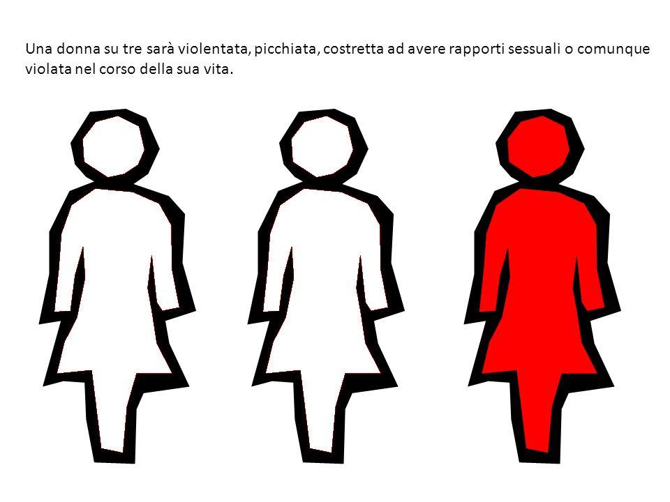 Una donna su tre sarà violentata, picchiata, costretta ad avere rapporti sessuali o comunque violata nel corso della sua vita.