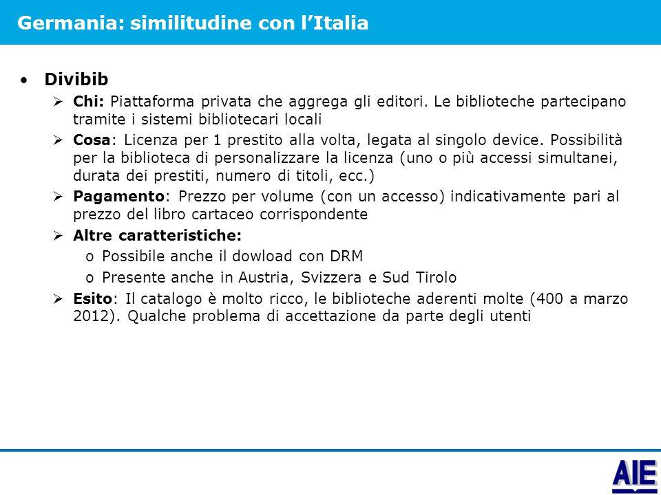 Germania: similitudine con l'Italia Divibib  Chi: Piattaforma privata che aggrega gli editori. Le biblioteche partecipano tramite i sistemi bibliotec
