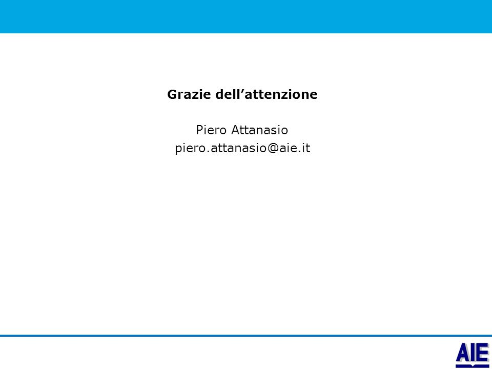Grazie dell'attenzione Piero Attanasio piero.attanasio@aie.it