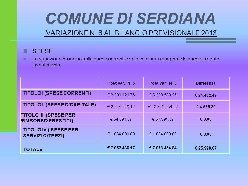 COMUNE DI SERDIANA VARIAZIONE N. 6 AL BILANCIO PREVISIONALE 2013