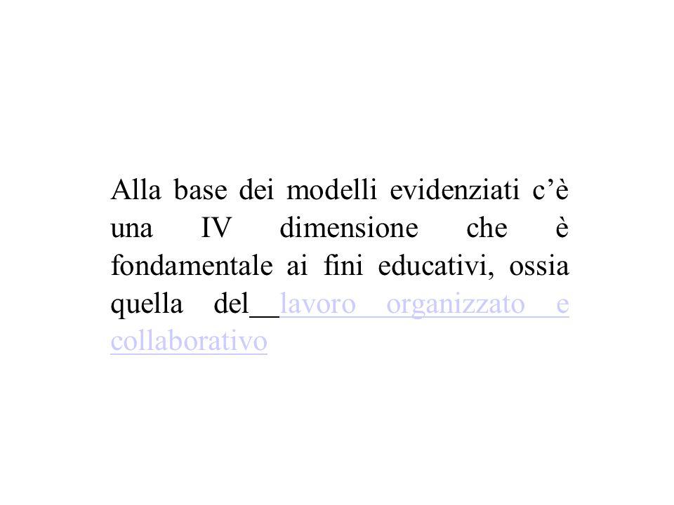 Alla base dei modelli evidenziati c'è una IV dimensione che è fondamentale ai fini educativi, ossia quella del lavoro organizzato e collaborativolavoro organizzato e collaborativo