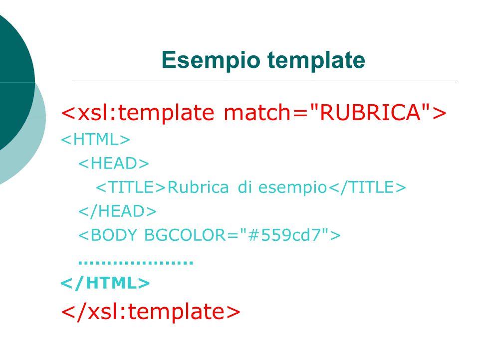 Esempio template Rubrica di esempio ………………..