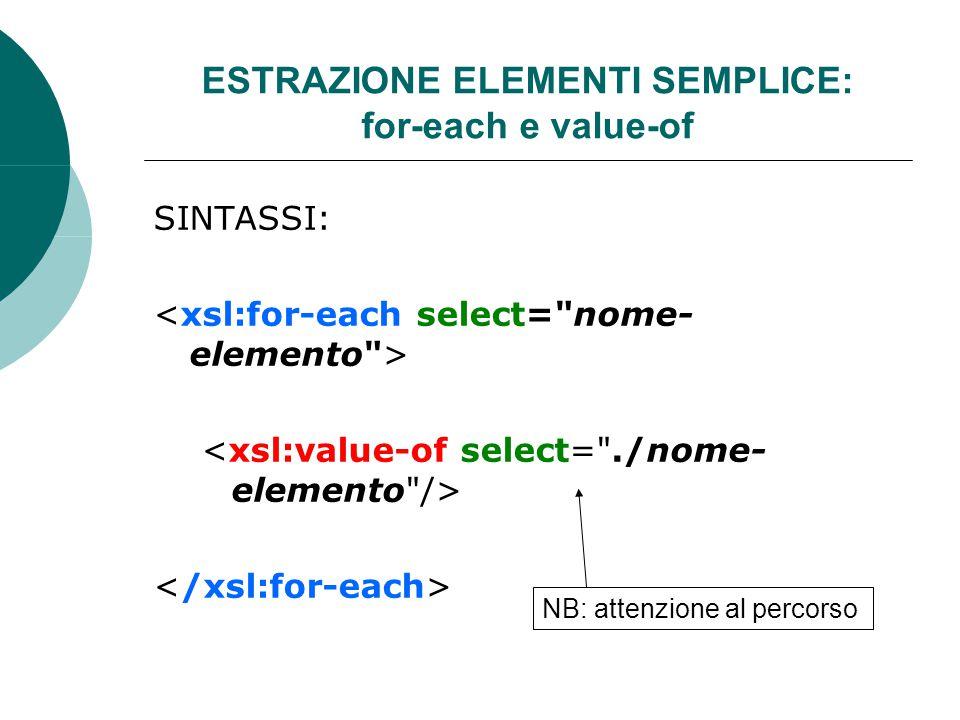 ESTRAZIONE ELEMENTI SEMPLICE: for-each e value-of SINTASSI: NB: attenzione al percorso