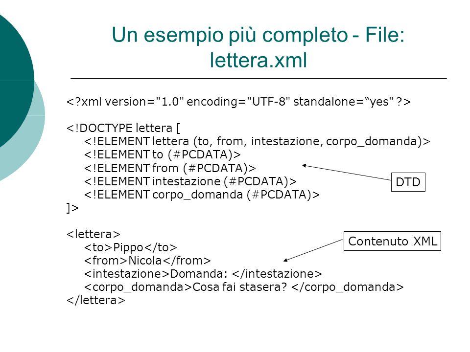 Un esempio più completo - File: lettera.xml <!DOCTYPE lettera [ ]> Pippo Nicola Domanda: Cosa fai stasera.